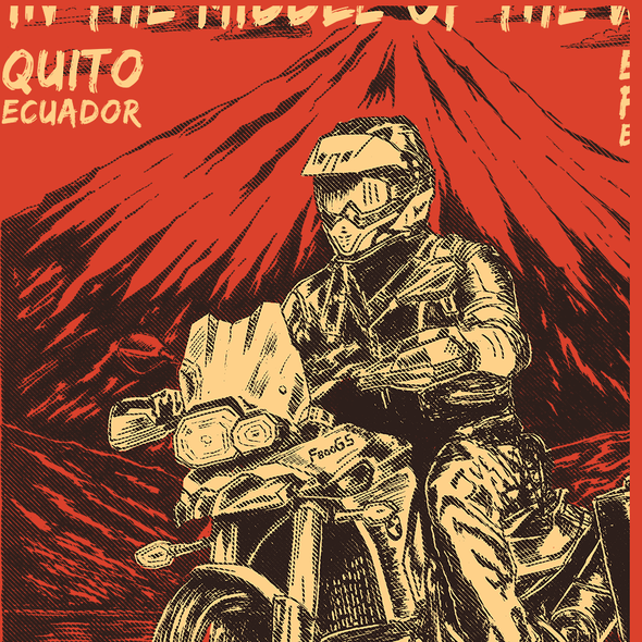Graphic t-shirt with the title 'Motorcycle Adventure T-Shirt for Ecuador Freedom Bike Rental'