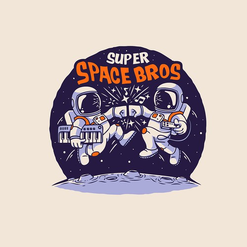 Planet logo with the title 'Super Space Bros'