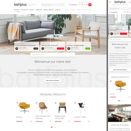 Home furnishing website with the title 'Furniture web shop design'