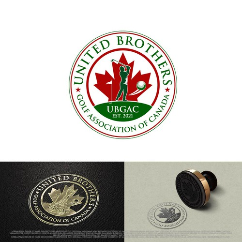 Maple leaf design with the title 'United Brothers Golf Association of Canada'