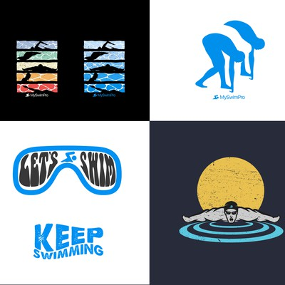 5 Tshirt designs for swimming brand