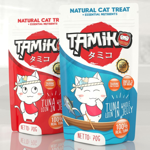 Blender 3D design with the title 'Tamiko Wet Cat food'
