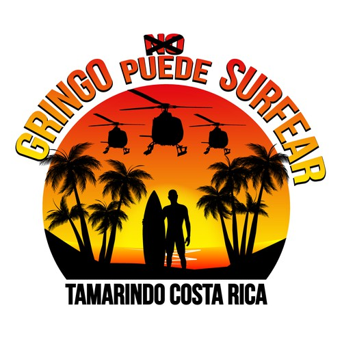 "Costa Rica design with the title 'T-Shirt Design ""Gringo PUEDE surfear""'"