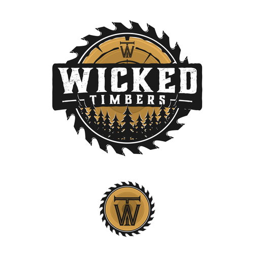 Logging logo with the title 'Wicked Timbers'