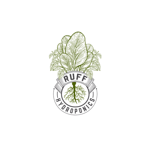 Hydroponics design with the title 'vintage logo concept for Ruff Hydroponics'