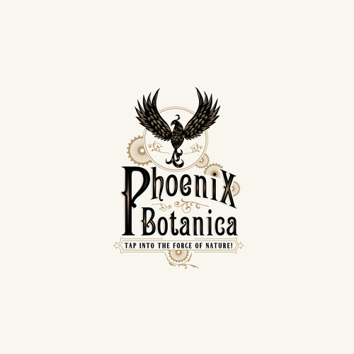 Phoenix design with the title 'Steampunk Logo For Herbalist'