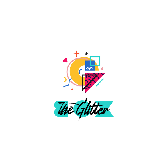 Memphis design with the title 'The Glitter BOX'