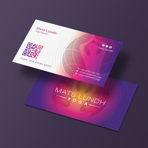 Yoga studio design with the title 'I made this business card design for Mats Lundh Yoga'