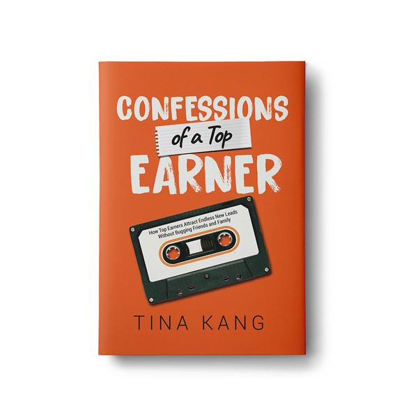Orange book cover with the title 'Book cover contest winning design'
