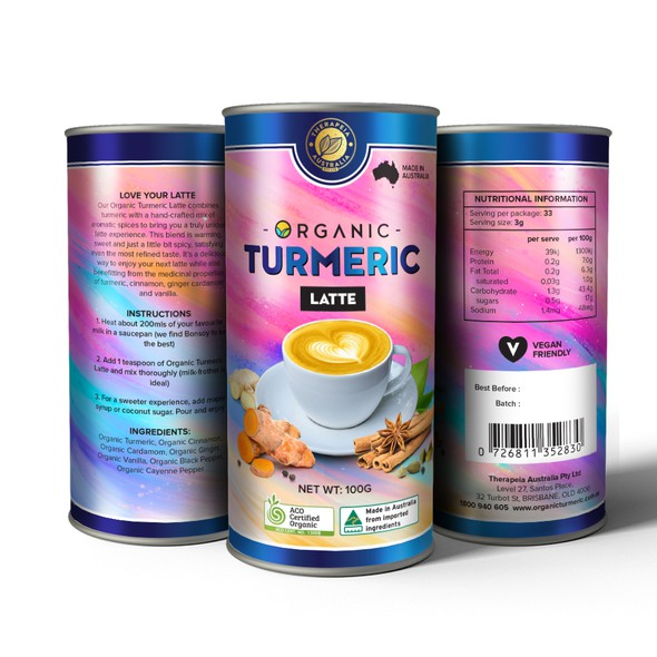 Ginger label with the title 'Organic Turmeric Latte Container Design'