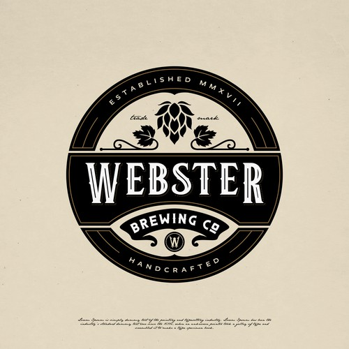 Bourbon logo with the title 'WEBSTER BREWING CO LOGO DESIGN'
