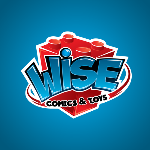 Shiny design with the title 'Logo Concept for a Comic and toy Store'