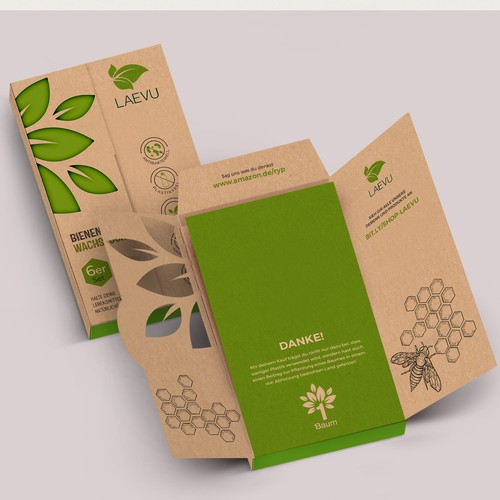 Green packaging with the title 'package and Logo design'