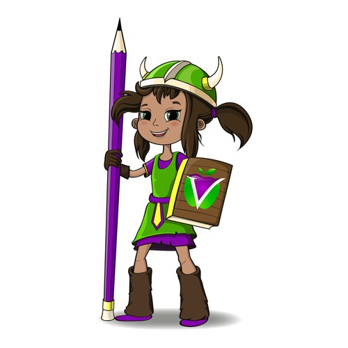Purple and green design with the title 'Viking- girl, character (mascot).'