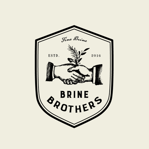 Hipster logo with the title 'Design a unique brand logo for premium pickle brine drink for Brine Brothers'