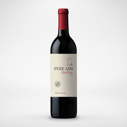 Wine bottle design with the title 'Pere Ami - Red Blend - Wine Label'