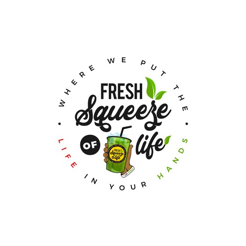 Juice bar logo with the title 'Loo Fresh Squeeze of Life'