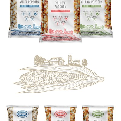 Package design and illustrations for popcorn