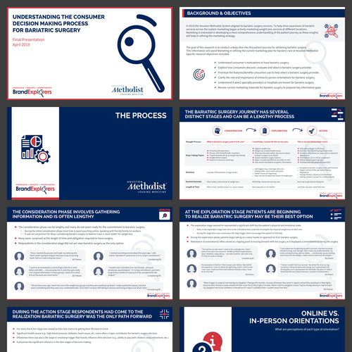 Red and blue design with the title 'Infographic style Presentation for Qualitative Data'