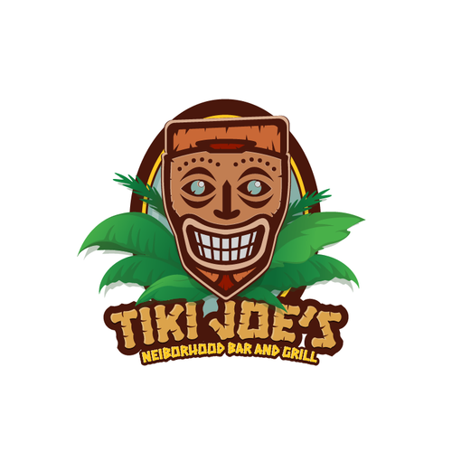 Bar and grill design with the title 'Tiki Joe's Bar and Grill'