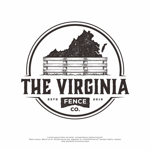 Distressed logo with the title 'Logo Design for The Virginia Fence Co.'