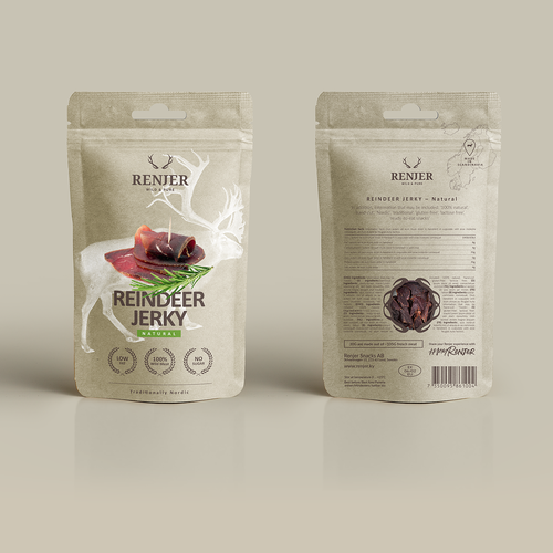 Jerky packaging with the title 'RENJER packaging'