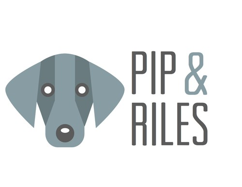 Dog food logo with the title 'Pip & Riles'