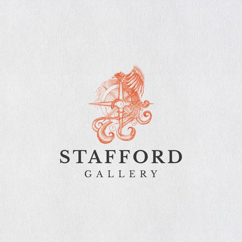 Fire shield logo with the title 'Phoenix and compass design for Stafford Gallery'