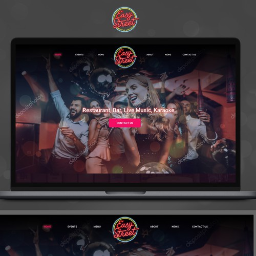 Black website with the title 'Bar and Restaurant website for a place with live music and fun atmosphere'