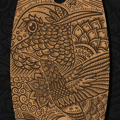 Flower artwork with the title 'Hummingbird Skatedeck'