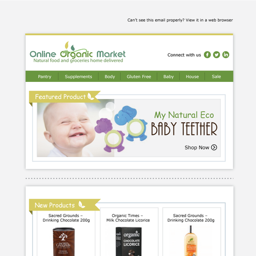 Online marketing design with the title 'Email newsletter template for Online Organic Market'