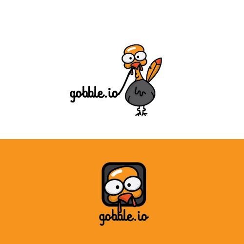 Character logo with the title 'Fun turkey character for a new technology platform'