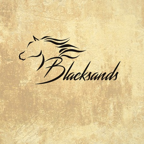 Brush stroke logo with the title 'Sophisticated horse logo for Blacksands'