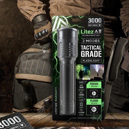 Retail label with the title 'LitezAll tactical grade flashlight label design'