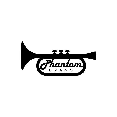 Marching band logo with the title 'Phantom Brass'