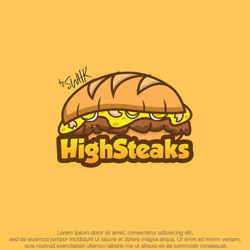 Yummy logo with the title 'Logo for a Philly Cheese Steaks Restaurant'