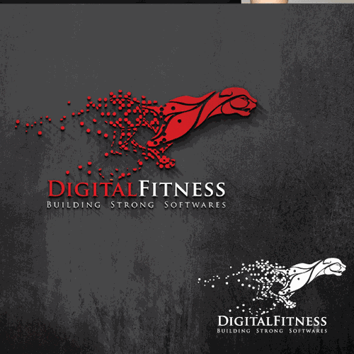 Black and red logo with the title 'Create a logo for a software development company of Health & Fitness producsts: DigitalFitness'