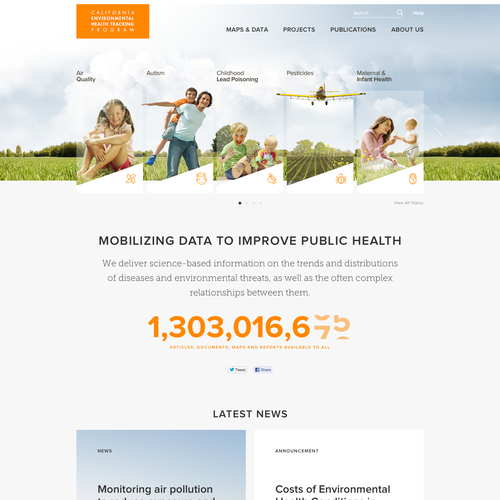 Program design with the title 'Website for the California Environmental Health Tracking Program'