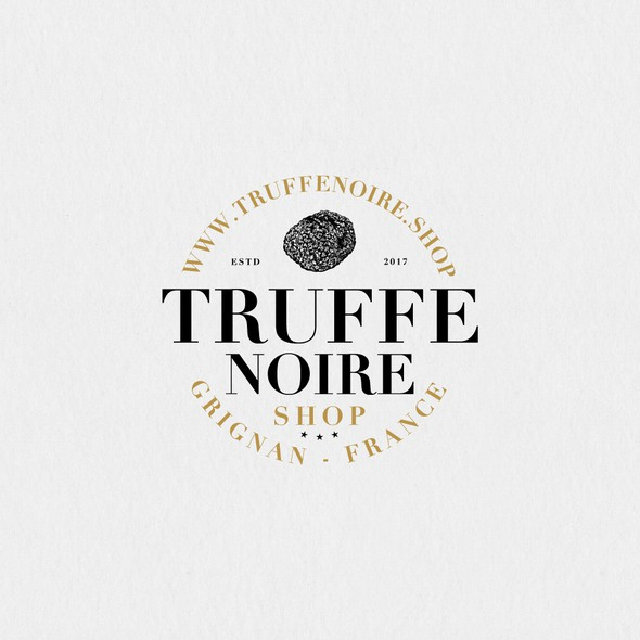 Truffle logo with the title 'Logotype for a seller of black truffles in France.'