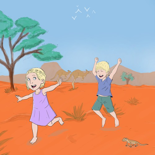Desert artwork with the title 'Illustration for kids' bedroom'