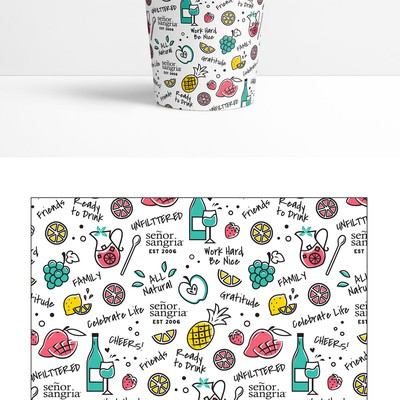 Fun sangria drinking cup design