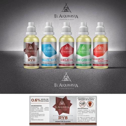 Essential oil label with the title 'Premium e-liquids Labels'
