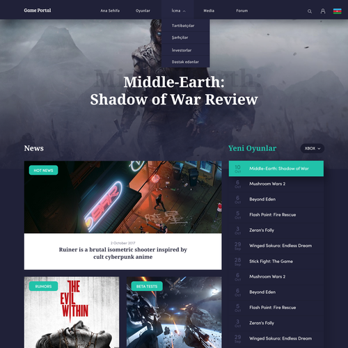News design with the title 'Game portal'