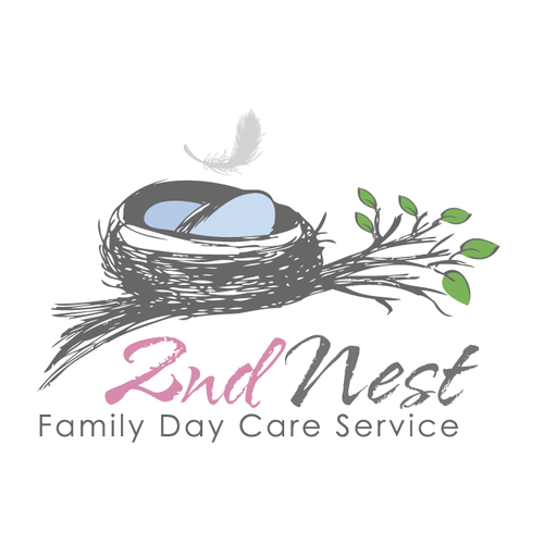 Nanny logo with the title 'sktechy nest and feather'