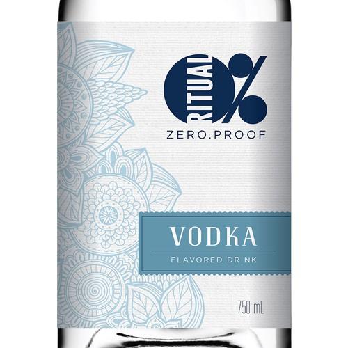 Liquor design with the title 'Non-alcoholic Vodka Label Design'