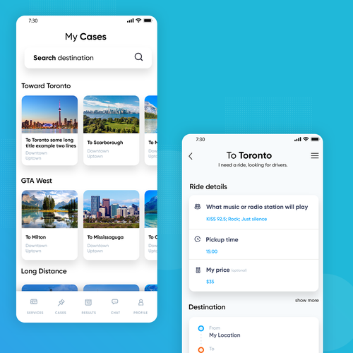 Share design with the title 'Ride-sharing service mobile app design'