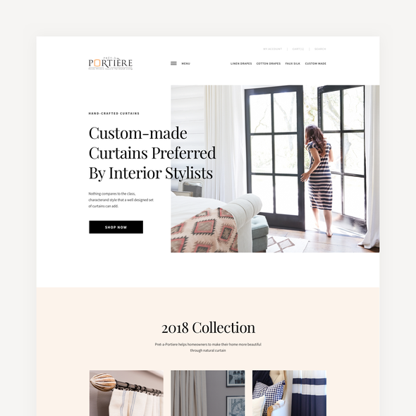 Minimalist website with the title 'Pret-A-Portiere Home Page'