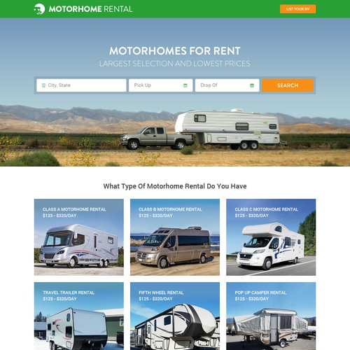 RV design with the title 'RV Rental Homage'