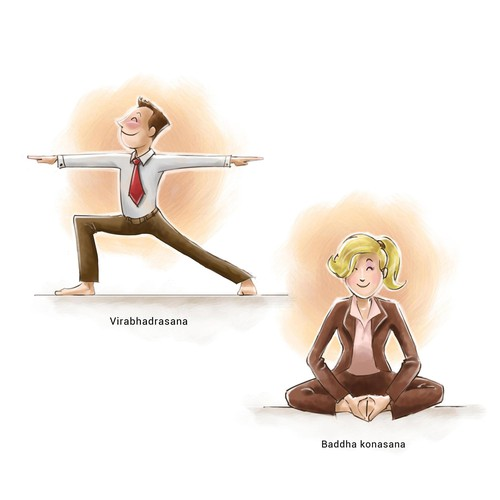 Yoga illustration with the title 'Business Yoga'