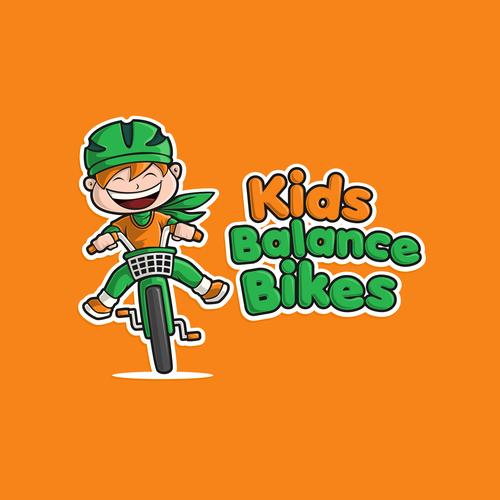 Bike logo with the title 'Bold logo concept for Kids Balance Bikes'